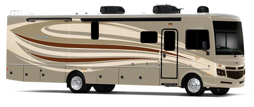 Très grand camping car Fleetwood Bounder 36H vu coté droit