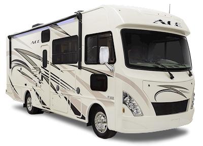 Camping-car Thor ACE 30.2 vu de 3/4 avant côté passager