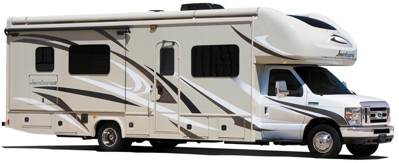 Camping car pour la famille Fleetwood Jamboree 30D, vu côté passager