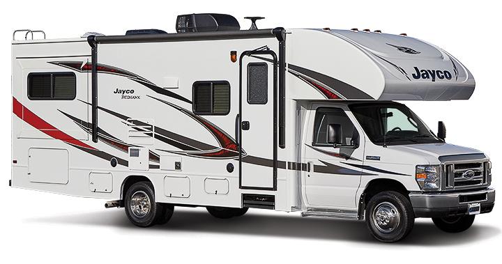 Camping car familial Jayco Redhawk 31XL de 9m45 vu côté passager