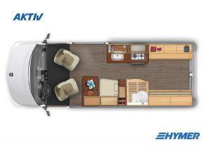 Vans - Camping-cars compacts - Camping car hymer vue intérieure de dessus