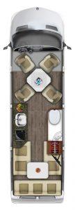 camping car RoadTrek E-Trek, plan vu de dessus en configuration salon