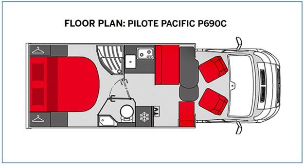 Plan aménagement intérieur du Pilote Pacific P690C vu de dessus