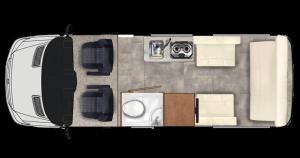 Pleasure-Way Ascent TS plan vu de dessus configuration salon
