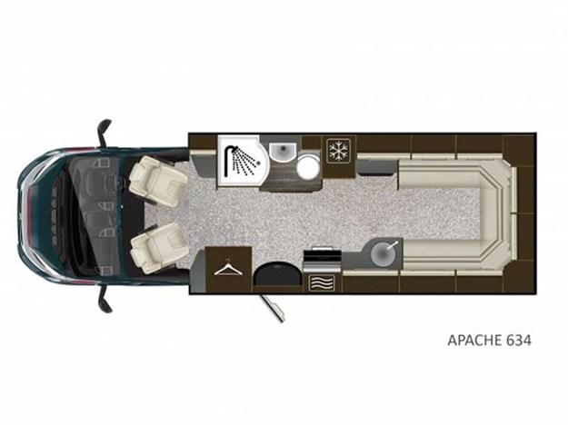 Plan aménagement du Auto-Trail Apache vu de dessus