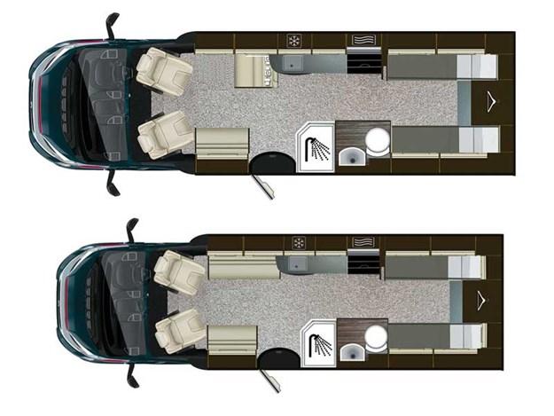 Plan de configuration de l'Auto-Trail Imala 734 vu de dessus