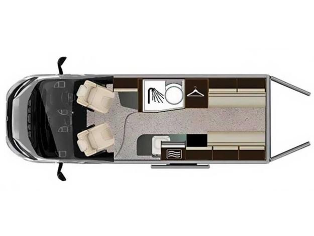 Schema de configuration du Benimar Benivan 120 vu de dessus