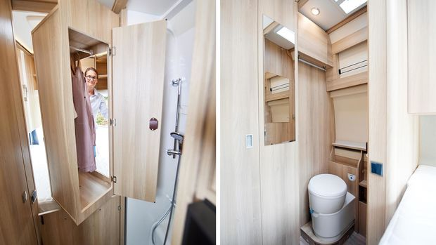 Rangements et grande salle de bain du Dreamer Camper Van XL (2019)